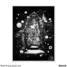 """Door Poster. 60% OFF Posters – Use CODE: ZSPRINGBREAK  'til Midnite 3-3-17. The theme of this art is a dimensional """"door"""". It represents transition to an alternate existence. An illustration I originally created in 1969, the rendering is a combination of pen and ink, white tempera paint and graphic pattern film. This was self published in a limited print run in 1972. Over 3000 products at my Zazzle online store. Open 24/7 World wide…"""