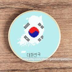 South Korea Cross stitch pattern - PDF pattern - South Korea flag - Modern xstitch - Patriotic - South Korea map by galabornpatterns on Etsy https://www.etsy.com/listing/251688809/south-korea-cross-stitch-pattern-pdf