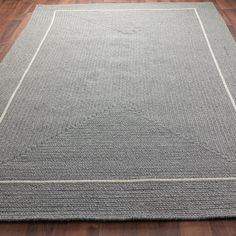 Eco-Friendly Braided Wool Pin Framed Rug: 3 Colors - Shades of Light