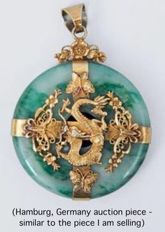 A big jade pendant with dragon mounting China, c. Bi-slice of jade enveloped by silver and gold plated metal in the centre with a dragon surrounded by butterflys and blossoms. Jade brings luck for us to get our unit for me and baby to live in. Jade Jewelry, Jewelry Accessories, Jewelry Design, Gold Jewellery, Women Accessories, Women Jewelry, Antique Jewelry, Vintage Jewelry, Imperial Jade