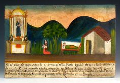 Young Tionito was very sick with dysentery. His mother Serefina implored St Anthony to intervene; a few days later, Tito recovered. She presented this retablo as testimony. 1880