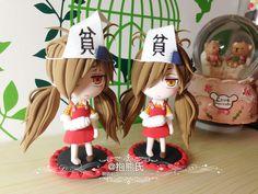 抱熊氏-萌萌粘土作品~萌萌哒超轻粘土 Chibi, Chocolate Fondant, Kawaii, Miniature Figurines, Pasta Flexible, Clay Dolls, Gum Paste, Biscuit, Polymer Clay