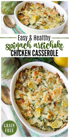 Ad This Healthy Spinach Artichoke Chicken Casserole Is Total Comfort Food. Its Easy To Make, Packed With Protein, Brimming With Spinach And Artichoke Hearts And Full Of Flavor. Recipes To Nourish Gluten Free Grain Free Comfort Food Real Food Dinner Via Gluten Free Recipes For Dinner, Gf Recipes, Real Food Recipes, Cooking Recipes, Kraft Recipes, Recipies, Cooking Ribs, Baby Recipes, Healthy Gluten Free Recipes