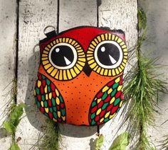 Leather Owl Purse Autumn Owl by krukrustudio on Etsy