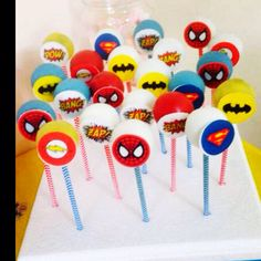 Superhero cake pops by a Chic Unique Cakes