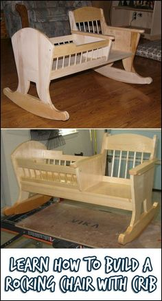 Learn how to build a rocking chair crib! - Why just have a rocking chair when y. - Learn how to build a rocking chair crib! – Why just have a rocking chair when you can also have a - Woodworking For Kids, Woodworking Basics, Woodworking Bench, Woodworking Shop, Woodworking Crafts, Woodworking Organization, Popular Woodworking, Woodworking Machinery, Woodworking Classes