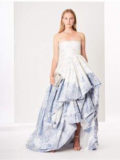 e8fa68f09e Oscar De La Renta Toile Du Jouy Silk-Chine Gown Asymmetrical Skirt