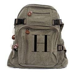 Monogramm Rucksack personalisiert, Canvas Rucksack, Schule Rucksack, Buchstabe H, Diaper Bag Rucksack, Kinder Rucksack, Rucksack Frauen, Männer Rucksack