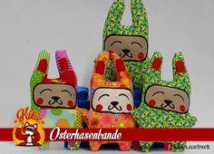 Osterhasenbande: Individelle Hasen mit lustigen Gesichtern, ideal für Ostern.