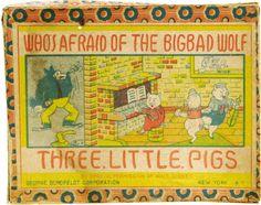 Disney Memorabilia - Three Little Pigs Bisque Figures in Box (George Borofeldt Corp. Classic Fairy Tales, Disney Collectibles, Big Bad Wolf, Three Little Pigs, Film Base, Vintage Ephemera, Toy Boxes, Vintage Disney, 1930s
