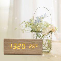 DU# Sound Control USB Solid Wooden Desk Bedside Digital Alarm Clock Tempreture Display Orange Light New Promotion