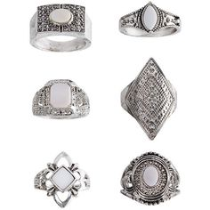 TopShop Mother of Pearl Multipack Ring Set (€17) ❤ liked on Polyvore featuring jewelry, rings, accessories, topshop, fillers, clear, set rings, clear rings, mother of pearl ring and topshop rings