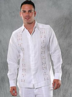 Guayabera Linen for wedding. Long sleeve White and Brown. Embroidered. - Guayabera Italian Linen for wedding. Sublime soft fabric.Availability is subject to change. It may take 2 - 3 weeks to arrival.Convertible cuff.Available in Plus Size. White