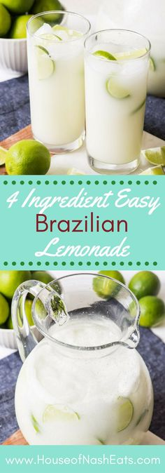 Brazilian Lemonade, Brazilian Limeade, Swiss Lemonade - whatever you want to call it, this is one delicious and refreshing drink that we enjoy year round! #lemonade #limeade #limes #brazilian #drink #beverage #summer