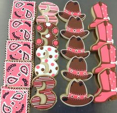 Cookies decoration Cowgirl Birthday Cakes, Horse Birthday Parties, Cowgirl Party, 3rd Birthday, Cowgirl Style, Iced Cookies, Cupcake Cookies, Birthday Cookies, Sugar Cookies