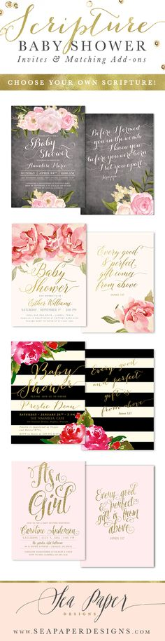 Baby Shower invitations with scripture on the back!  Made for any baby shower event: baby shower brunch, sip & see, baby sprinkle and more. Add any scripture you like! See more designs at: www.seapaperdesigns.com