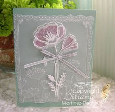 "by Stamping with Bibiana: Flower card in Parchment Craft featuring the ""perky poppy"" die from Memory Box for the 2014 release of dies and stencils"