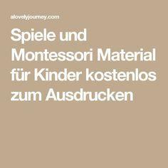 Spiele und Montessori Material für Kinder kostenlos zum Ausdrucken