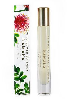 Hi Wildflower Botanica Namaka Rollerball Perfume  Product Description: Namaka, the Hawaiian goddess of the ocean, wears a crown of royal tiare flowers in a blend of mimosa blooms, coconut milk, marine accord. Bright white grapefruit and earthy eucalyptus and nutmeg recall the mossy rocks where the sea meets the earth. Features an incredibly rare, all-natural Tahitian gardenia absolute that is stunning. Floral, Citrus, Lactonic // Feminine Top Notes: Neroli, Marine Accord, White Grapefruit…