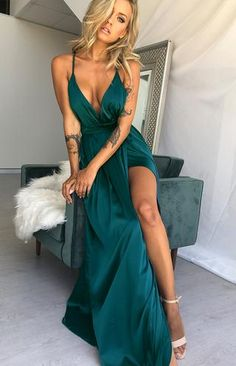 Maxi gown dress - Pandora Formal Dress Teal S – Maxi gown dress Satin Dresses, Elegant Dresses, Women's Dresses, Satin Gown, Dresses Online, Teal Prom Dresses, Wrap Dresses, Sweater Dresses, Pretty Dresses