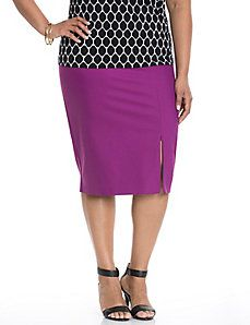 591f7ee112f Double weave pencil skirt with zipper slit Plus Size Skirts