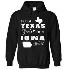 TEXAS GIRL IN IOWA - #birthday shirt #tee itse. ADD TO CART => https://www.sunfrog.com/States/TEXAS-GIRL-IN-IOWA-7048-Black-Hoodie.html?68278