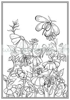 Adult colouring in PDF download garden henna zen by gwendaviesart