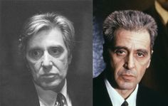 """""""The Godfather Part III"""" - Movie makeup master Dick Smith 1922-2014 - Al Pacino - Left: An early test of aging makeup, with appliances and long hair, designed by Dick Smith for Al Pacino's Michael Corleone, that was rejected for """"The Godfather Part III."""" Right: Pacino in the final film, with a crew cut and old age stipple applied by another artist. (Click """"Found on cbsnews.com"""" for more info.)"""