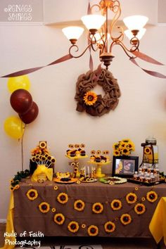 fall party sunflower and burlap party