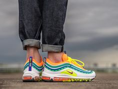 """Nike Air Max 97 """"London Summer of Love"""" For Sale Air Max 97, Nike Air Max, Fake Yeezys, Fake Shoes, Air Max Sneakers, Sneakers Nike, London Summer, Purple Nikes, Sneakers Fashion Outfits"""