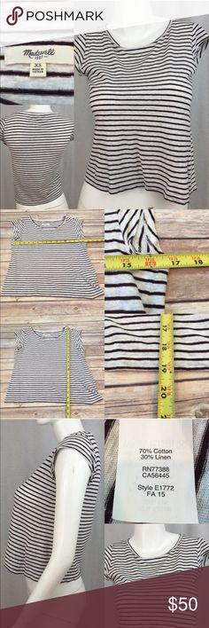 💄Size XS Madewell Short Sleeve Striped Crop Top Measurements are in photos. Normal wash wear, no flaws. E2  I do not comment to my buyers after purchases, do to their privacy. If you would like any reassurance after your purchase that I did receive your order, please feel free to comment on the listing and I will promptly respond. I ship everyday and I always package safely. Thanks! Madewell Tops Crop Tops