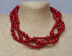 Red Pearl Necklace3 Strands NecklaceWedding by pearlandjewelry