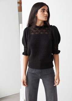Savvy storage solutions for small spaces Cute Tights, Winter Trends, Pullover, Fashion Essentials, Fashion Story, Collar And Cuff, S Models, Black Sweaters, Black Tops