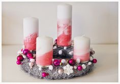 Advents-Krans, Christmas-Candles, pink