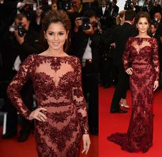 Cherly Cole wore a maroon Zuhair Murad Fall 2012 gown with an illusion bodice with the usual, beautiful embellishments.