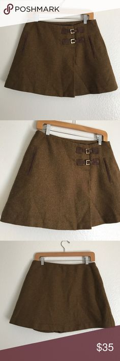 ZARA Wool Buckle Skirt Size Small In great condition!  Wool blend. Zara Skirts