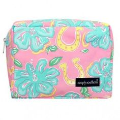 Simply Southern Pink Hibiscus Horseshoes Lulu Cosmetic Bag