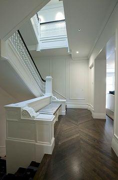 Trim, ceilings and walls are Vanilla Milkshake (BM). Ceiling is flat, trim is semi-glass, and walls are matte.