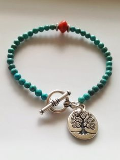 SALE Turquoise and Coral Tree of Life Toggle by TheArtsyNomad