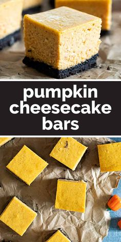 These Pumpkin Cheesecake Bars are festive bars that are made from pumpkin cheesecake on top of a cookie crust. For Halloween, garnish with whipped cream ghosts for a ghoulish touch. #recipe #pumpkin #cheesecake #dessert #falldessert
