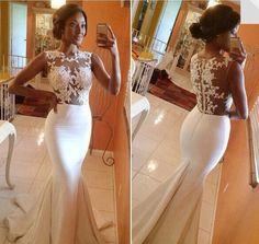 vestidos de fiesta high neck lace applique see through sexy mermaid prom dress vestidos de gala special occasion dresses PD01