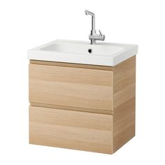 IKEA GODMORGON& Wash-stand with 2 drawers White stained oak effect cm 10 year guarantee. Read about the terms in the guarantee brochure. Ikea Bathroom Vanity, Ikea Sinks, Bathroom Sink Cabinets, Vanity Countertop, Bathroom Furniture, Modern Master Bathroom, Small Bathroom, Ikea Kitchen, Kitchen And Bath