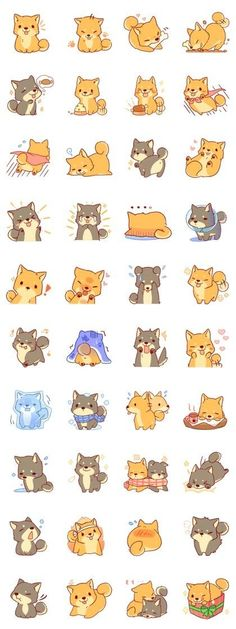 Japanese Embroidery Tiger It is a Sticker of Japanese Shiba inu - Animals Drawing Images, Cute Animal Drawings, Kawaii Drawings, Cute Drawings, Doodles Kawaii, Cute Doodles, Kawaii Art, Kawaii Stickers, Cute Stickers