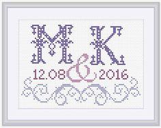 Cross stitch pattern Monogram Customisable di PatternsTemplates