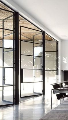 black walls 12. Love these windows..