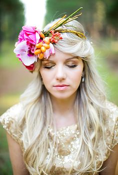 Brides: The Prettiest Wedding Hairstyles with Flower Crowns  A Unique Pink Flower Crown Featuring Miniature Citrus   Photo by Adene