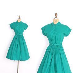 Vintage Dress / Teal Cotton Dress / by lapoubellevintage Vintage 1950s Dresses, Vintage Hats, Vintage Clothing, Vintage Style, Vintage Outfits, Vintage Fashion, Full Skirt Dress, High Neck Dress, Material Girls