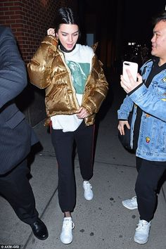 Fool's gold: A fan was given the swerve by Kendall Jenner in New York on Wednesday