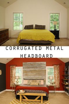 DIY Corrugated Metal Headboard from East Coast Creative Blog.  Also a great tutorial on how to age metal!