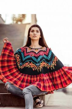 Black Embroidered And Chex Print Khadi Poncho Style Top Cataloge Whatsapp :- 9377709531 Western Tops, Fancy Tops, Poncho Tops, Jean Top, Trends, Western Outfits, Mode Outfits, Daily Wear, Bell Sleeve Top